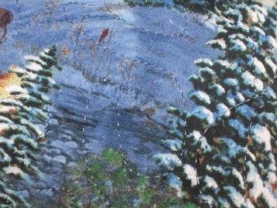 Runner Christmas Winter Snow Scene deer wildlife country town