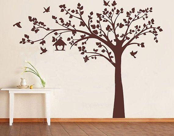 180cm Tree Birds Cage Vinyl Wall Paper Decal Art Sticker T101