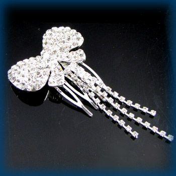 Item  clear rhinestone crystal bow tie hair combs bridal
