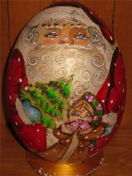 Russian doll Santa Father Christmas Noel Snow Maiden HAND PAINTED EGG