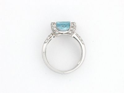 NEW MICHAEL EDWARD AQUAMARINE WHITE GOLD DIAMOND RING