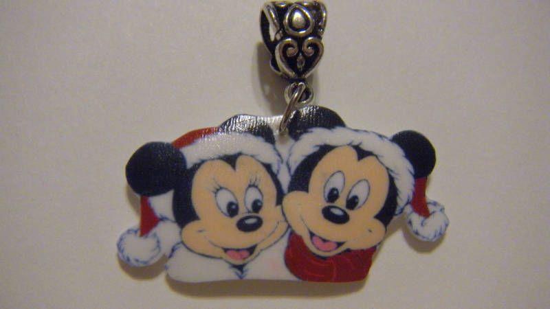 Disney Mickey Minnie Mouse Santa hat Christmas Pendant