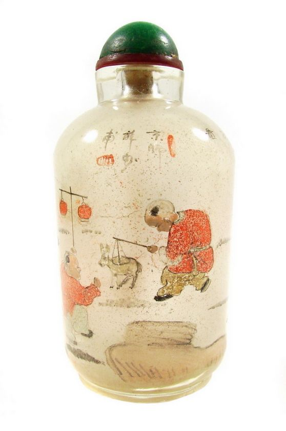 Antique Chinese Reverse Painted Glass Snuff Bottle 1800s
