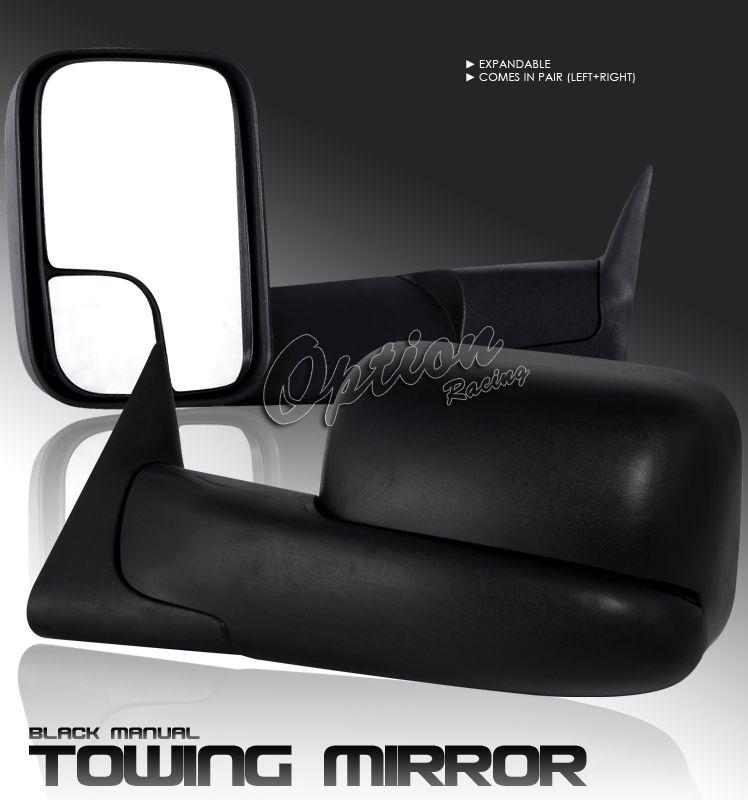 94 01 DODGE RAM PICKUP TRUCK OEM STYLE BLACK MANUAL TOWING MIRROR LEFT
