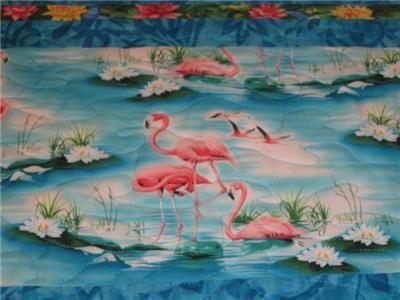 Handmade Table Runner Flamingo tropical Paradise luau