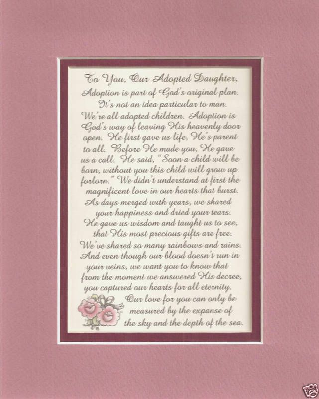 Adopted DAUGHTERs God Heaven LOVE Cherish GIFT verses poems plaques