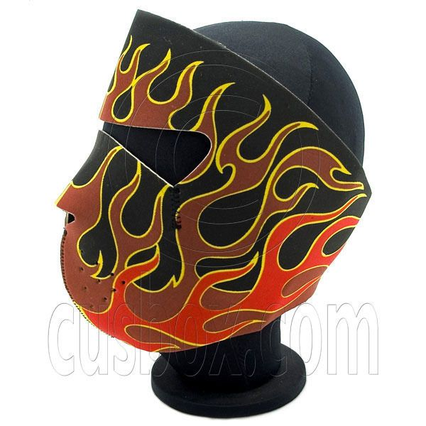Red Flame Head Neoprene Full Face Mask Biker Motorcycle