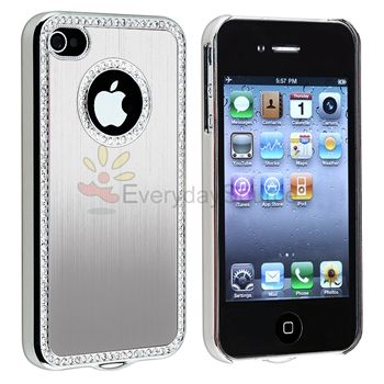 Silver Luxury Bling Diamond Hard Case Cover+MIRROR Protector for