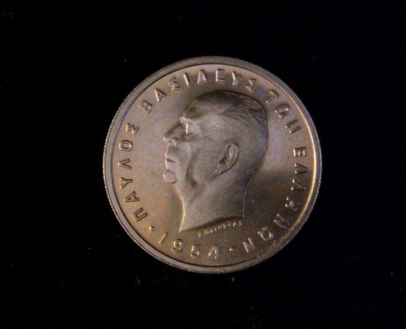 Greece 1954 5 Drachmai Coin CN BU King Paul I