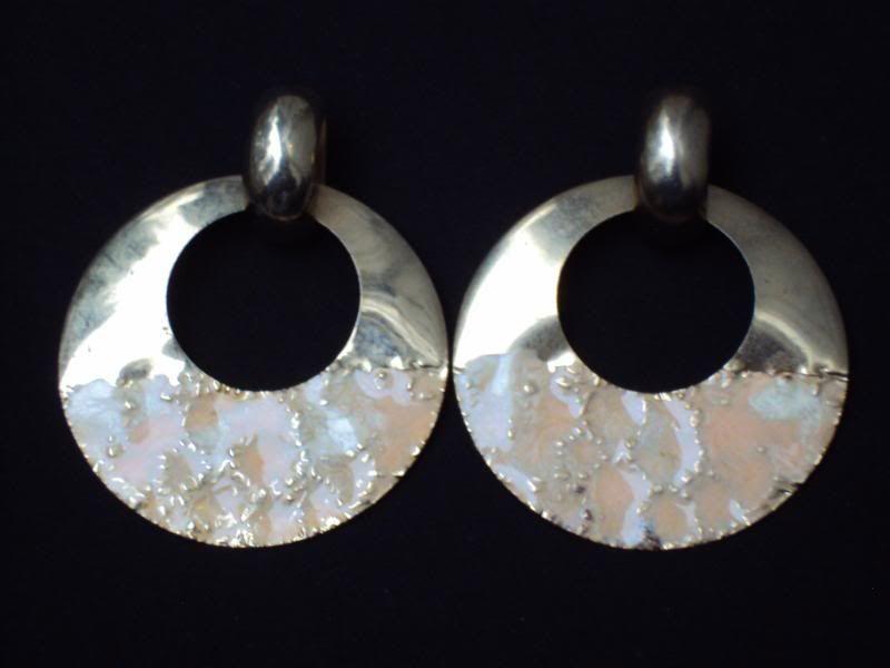 Huge Vintage Gold Pink Enamel Runway Earrings Pierced (P876)