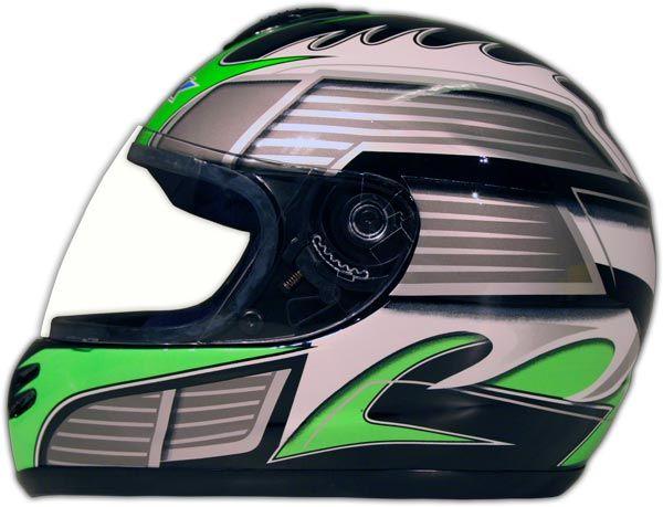 NEW DOT GREEN FULL FACE MOTORCYCLE HELMET STREET BIKE M