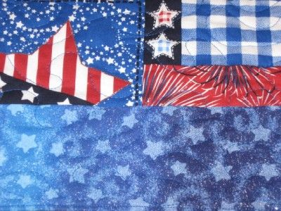 Handmade Patriotic quilted Table Runner 4th of July